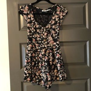 NWOT Kimchi Blue button front romper, lace up back